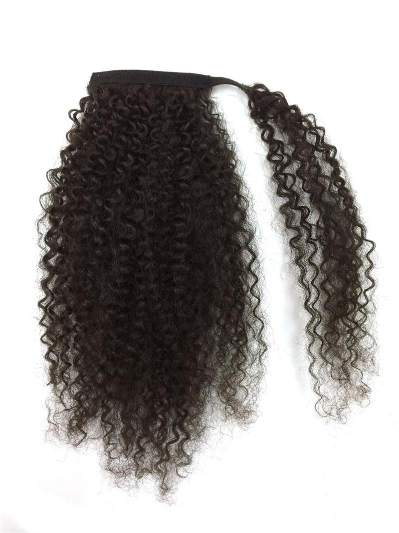 14-32 Inch Wrap Around 100% Human Hair Ponytail in Kinky Curly #1B