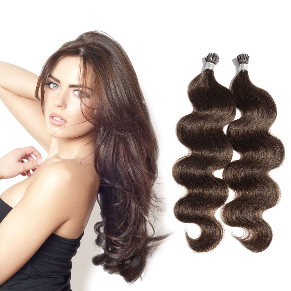6 - 30 Inch #4 Medium Brown Stick I Tip Body Wave Real Human Hair Extensions 100S 0