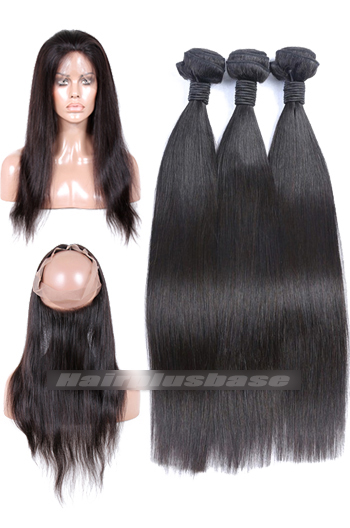 Peruvian Virgin Hair Silky Straight 360°Circular Lace Frontal with 3 Weaves Bundles Deal