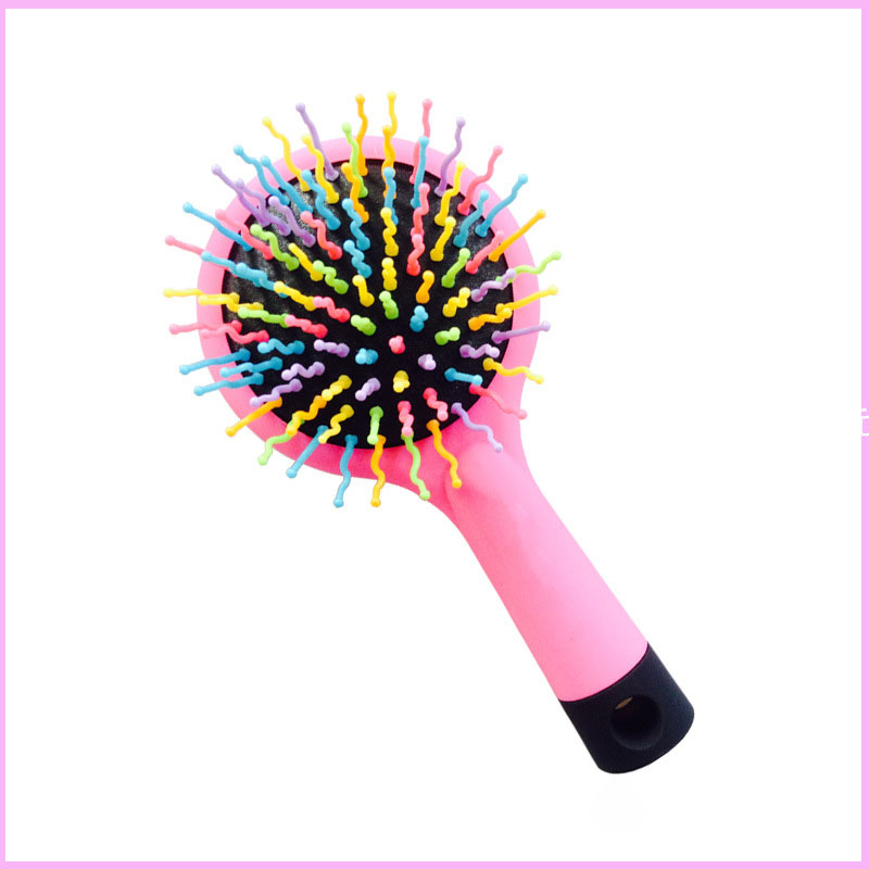 Rainbow S-Curl Air Volume Brush With Back Mirror for Abundant hair & Detangling Comb